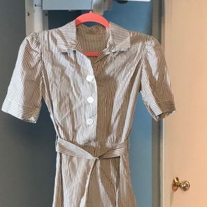 Vintage Striped Dress with real shell buttons